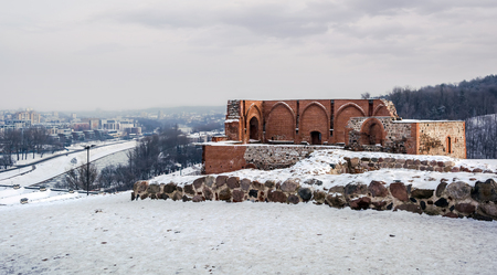 View to the remains of The Keep Of The Upper Castle in Vilnius, Lithuania on frosty winter day. The hill on which it is built is known as Gediminas Hill.
