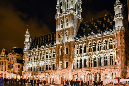 Brussels, Belgium - January 10 2015: The Brussels Town Hall in a winter night in Brussels, Belgium.