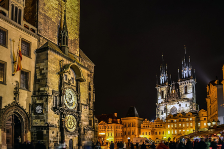 Prague skyline at Astronomical Clock Tower and Prague Old Town Square with Tyn church