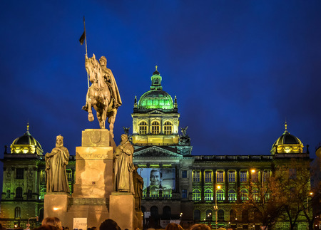 Wenceslas Monument and National Museum, at night