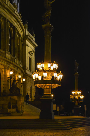 Vintage street gas lamp posts in Prague before the Rudolfinum - Czech Philharmonic Orchestra