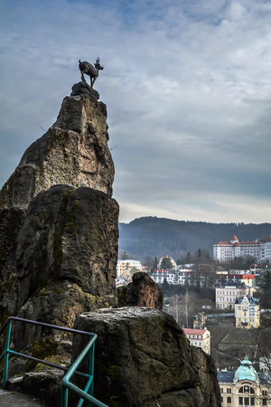Jeleni Skok (Deer Leap) Rock with deer in Karlovy Vary, Czech Republic