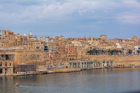 Valletta, Malta - September 1, 2019: Magnificent view of Valletta from Senglea Gardjola gardens. Redakční