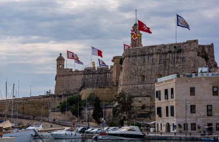Fort Saint Michael against cloudy sky in Senglea, Malta. It was built in the 1550s, and played a significant role in the Great Siege of Malta.