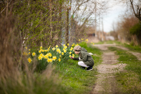 Cute happy little girl in the spring country smelling yellow daffodils 免版税图像