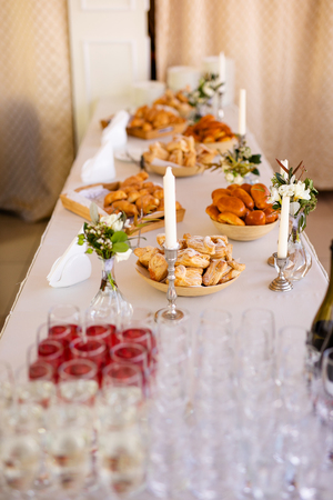 Detail of a beautiful salad buffet with a rich choice, healthy food. Stock Photo