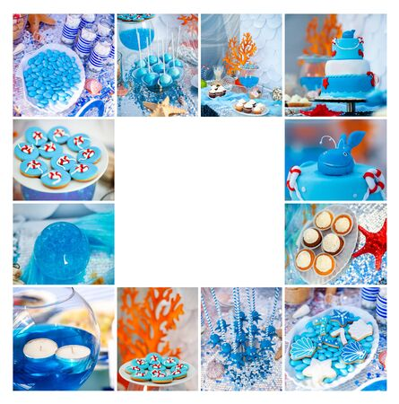 Sea and summer time theme for party or birthday. Collage of five pictures of sweets, cupcakes, pop cakes. Archivio Fotografico