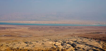 View at coast of the Dead Sea from ruins of high-rise fortress Masada, Israel.