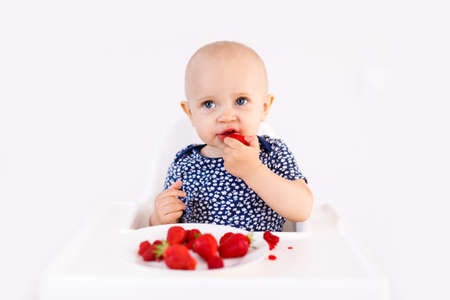 Infant girl sitting in high child's chair eating berries on a white background. Baby food concept, space for text