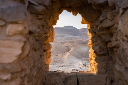 The ancient fortification in the Southern District of Israel. Masada National Park in the Dead Sea region of Israel.