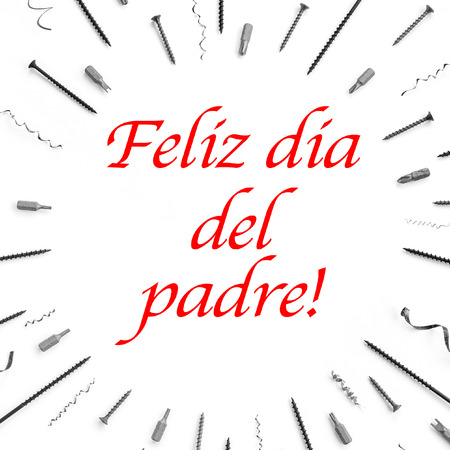 The text feliz dia del padre, happy fathers day in spanish written on white background with pattern of screws, nails, metal shavings, bits for a screwdriver.