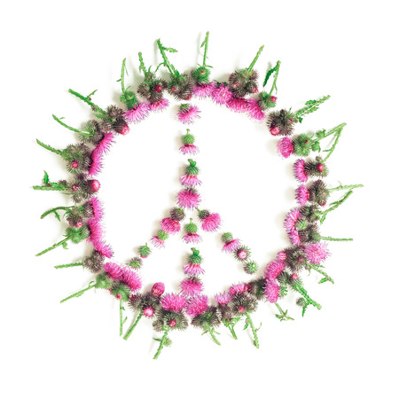 Peace sign (Pacific)-a symbol of peace, disarmament and anti-war movement, lined with delicate pink flowers blossomed Thistle.