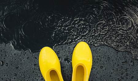 Women's bright yellow rubber boots stand under raindrops on a black background in front of a puddle. Top view, space for text