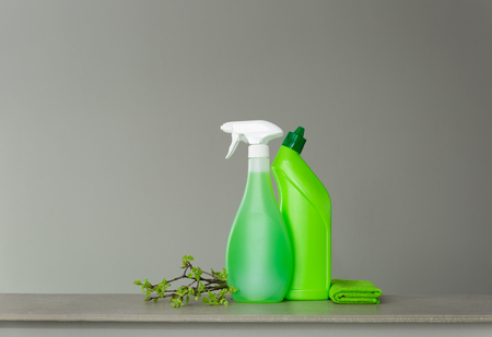 Ensemble vert pour le nettoyage de printemps et quelques brindilles avec de jeunes feuilles printanières. Copiez l'espace, fond neutre.