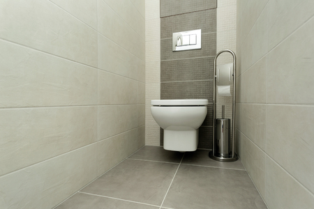 White toilet bowl in modern bathroom with paper holder and toilet brush.