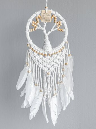 Dreamcatcher, an American native amulet made of feathers, leather beads, and ropes with the symbol of a tree and instruction card. Imagens