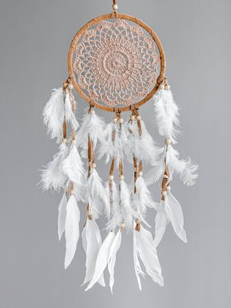 A brown Dreamcatcher with white plumage on a gray background. Interior decoration. Native American Dream Catcher Imagens