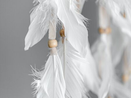 Plumage and beads of a Native American Dreamcatcher. Close up. Selective focus.