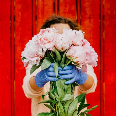 A girl in front of a red fence in protective gloves holds out a bunch of peonies. The face is hidden behind a bouquet of flowers. Concept of safe delivery to the Prairie of the risk of coronavirus infection. Soft focus.