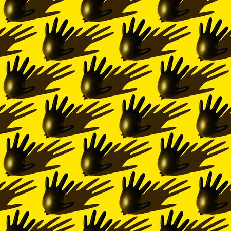 Seamless pattern of inflated black disposable surgical gloves. Symbol of hand protection during the pandemic and victory over the coronavirus.
