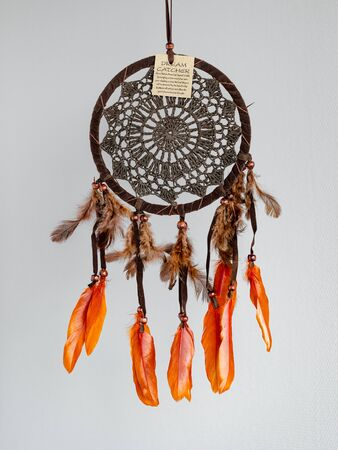 Dreamcatcher - native American amulet that protects the sleeper from evil spirits and diseases. Card with instructions. Imagens - 148404791