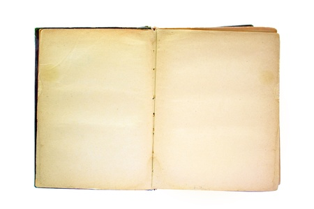 aged old book opened with blank pages isolated over white photo