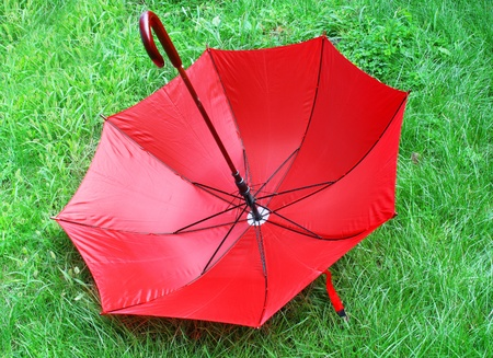 bright red umbrella  lying on a green grass photo