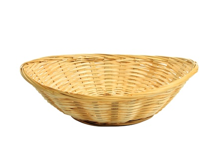 wicker: empty bread basket isolated over white, clipping path included