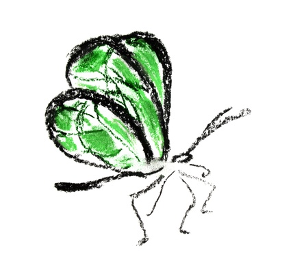 green butterfly illustration on white background Stock Illustration - 10041372