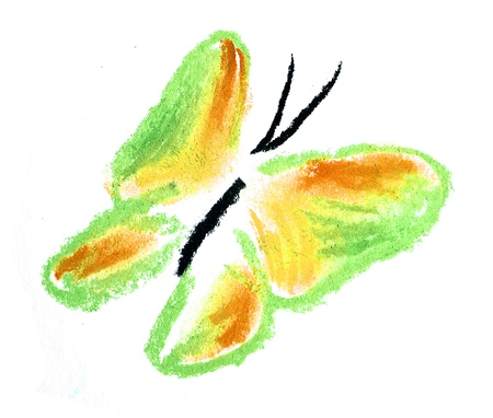 green and yellow butterfly illustration on white background Stock Illustration - 10041301