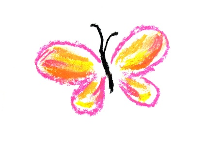 pink and yellow butterfly illustration on white background illustration
