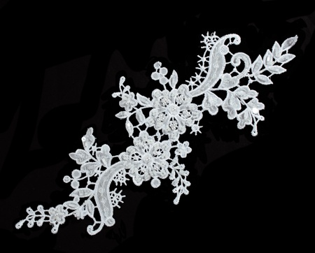 luxury wedding lace with pearls isolated on black background Stock Photo - 10214673