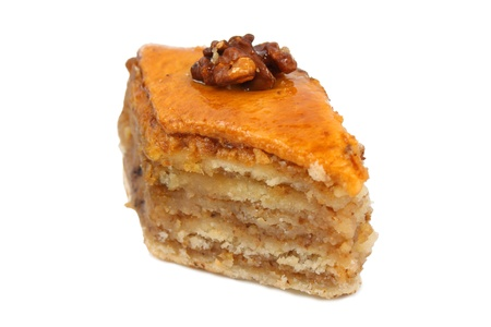 traditional middle east sweet baklava isolated over white photo