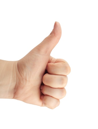 caucasoid race: women hand make thumbs up isolated over white Stock Photo