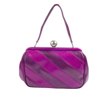 vanity bag: old fashion vintage purse isolated over white background Stock Photo