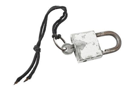 doorlock: old padlock with key on rope
