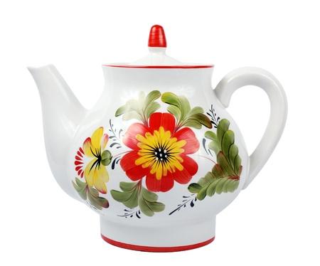 kettles: olf tetera de porcelana de moda aislado m�s de blanco Foto de archivo