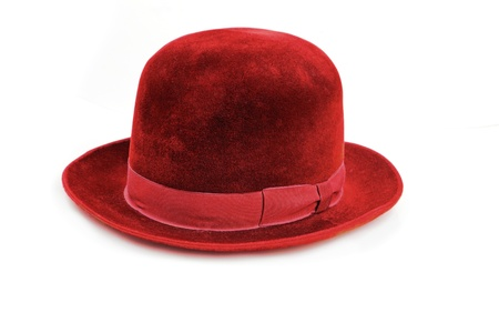 vintage 50 years old red hat, made in USSR, over white background Stock Photo - 12121343