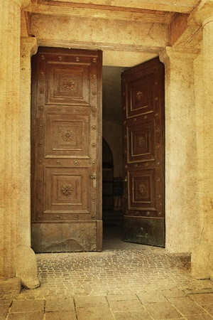 Old aged photo of big ancient doors  Stock Photo - 12121504