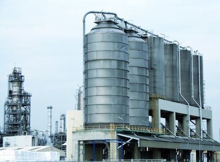 Modern chemical manufacturing plant construction. Refinery factory.