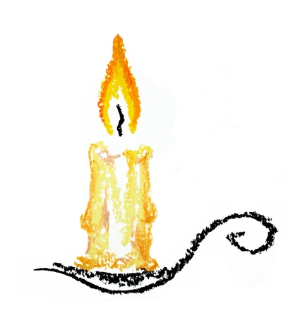 brass candelabra illustration with brightly lit pillar candle. Isolated over white illustration