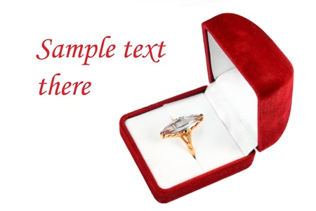 postcard template ring with big stone in a red box isolated over white photo