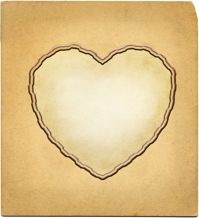 heart shape vingette on vintage photo paper texture Stock Photo - 12121537