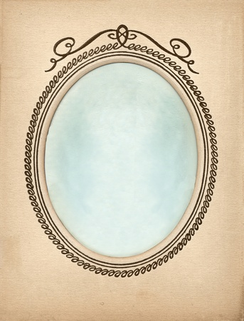 vintage photoframe background with oval vignette and blue background photo