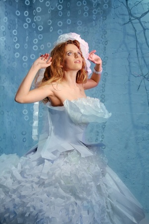 Beautiful Fashion Woman Fairy Bride in paper dress and paper headdress Stock Photo - 13401365
