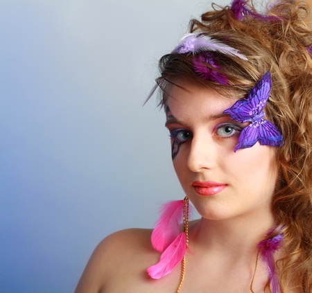 Young model beautyful women with perfect butterfly make up and hairstyle clouse-up Stock Photo - 13401305