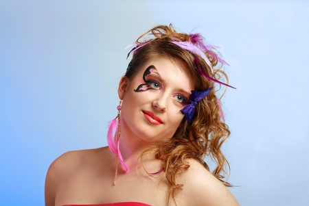 Young model beautyful women with perfect butterfly make up and hairstyle clouse-up Stock Photo - 13401290