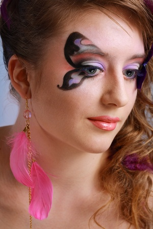 Gorgeous Young model beautyful women with perfect butterfly make up and hairstyle clouse-up Stock Photo - 13401479