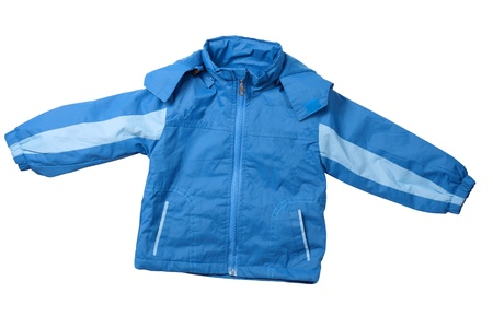 Trendy child blue sport jacket isolated on white photo