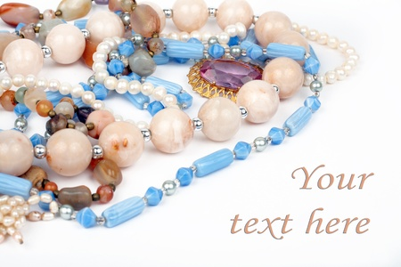 gemstone: necklaces jewelry, brooch, pearls, isolated over white background